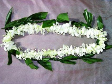 Orchid Lei - White Orchid with Braided Ti-leaf
