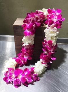 Orchids Lei - White and Purple
